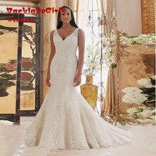 Hot Sale 2017 Elegant Full Appliques Plus Size Bridal Dresses Vestidos V-neck Trumpet Robe De Mariage Custom made Online