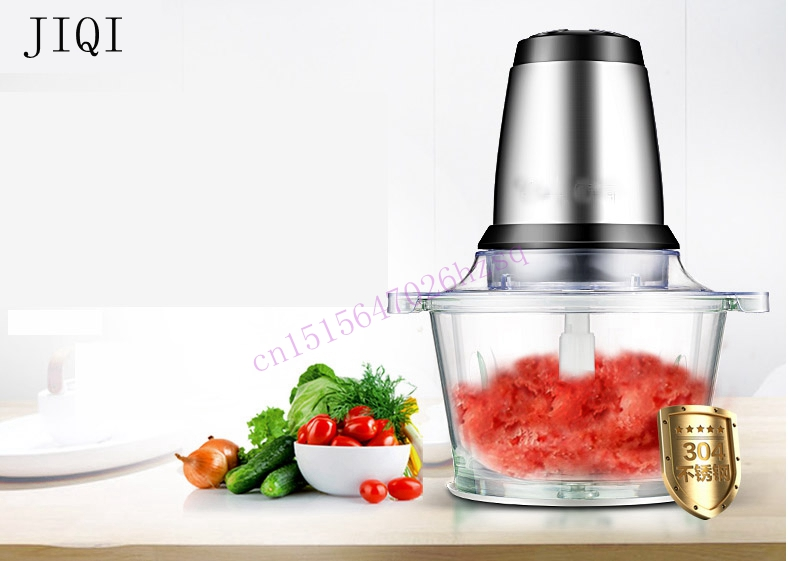 все цены на JIQI Meat grinder Small household electric multifunctional cutting machine Vegetables chopper stirring Mashed spices maker онлайн