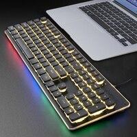 Gaming Keyboard 104 Keycaps RGB Backlit Waterproof Silent Keyboard Computer Gamer USB Wired For Desktop Laptop