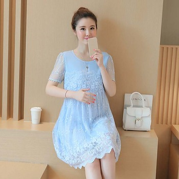 Maternity Clothes 2017 Spring Summer Maternity Short Lace Patchwork Plus Size Loose Dress Pregnancy Clothes for Pregnant Women tote bag