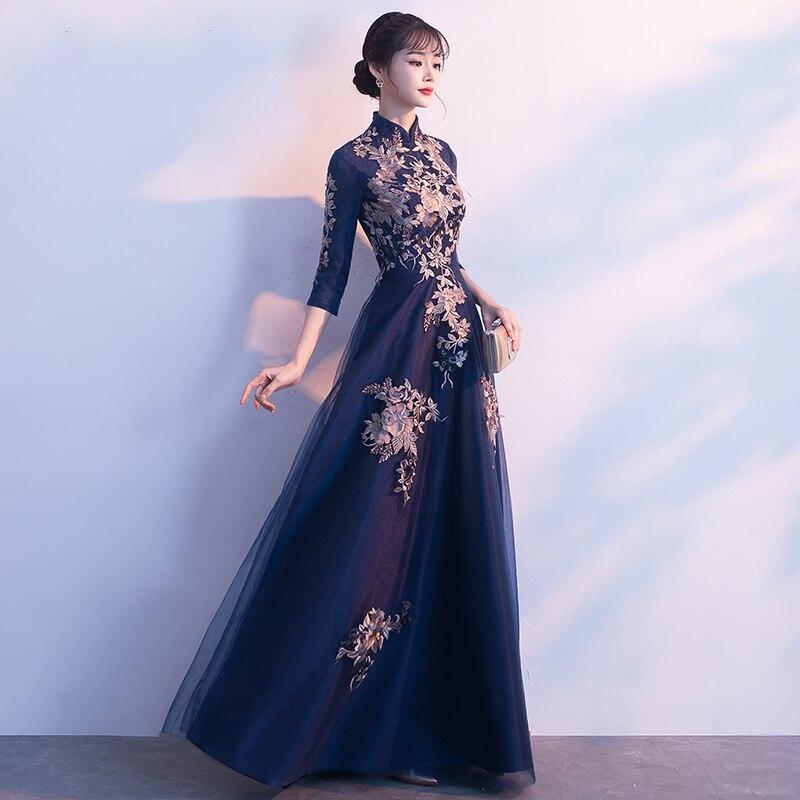 Cuello alto clásico azul marino vestido de noche de tul largo con mangas 3/4 apliques de lujo hasta el suelo vestidos formales de talla grande - 3