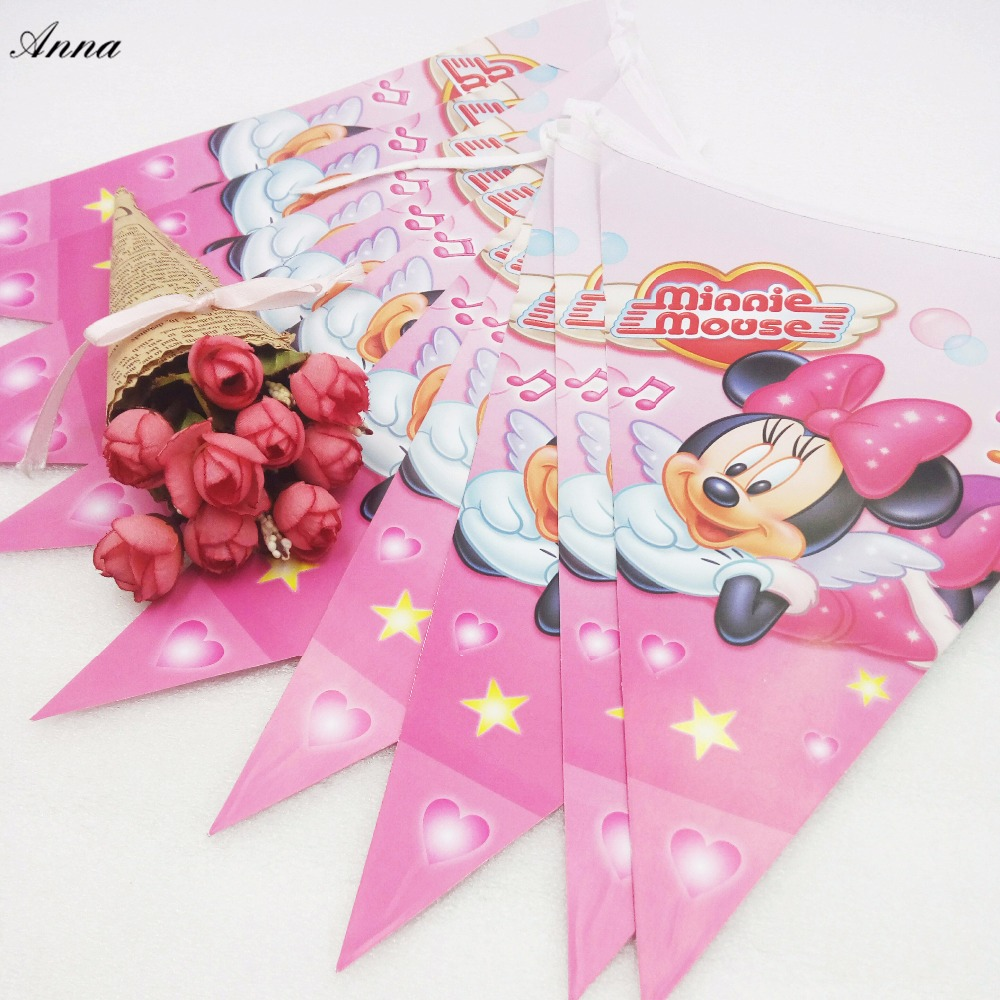 HOT Selling 2.8m Minnie Mouse Party Supplies Pennant Bunting Birthday Flag Banners Birthday Party Decorations Kids Supplies