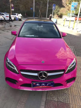 Rose Red Crystal Glossy Vinyl Car Wrap Sticker With Air Bubble Free Gloss Vehicle Wrapping Foil Size 1.52x20M/5X65FT