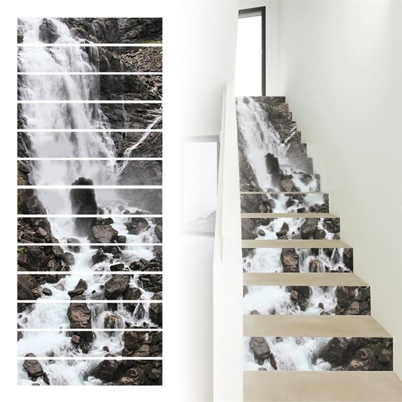 Tarjeta vertical 6//13Pcs 3D Escalera Escalera Piso Stickers Vinyl Mural de pared calcomanías De Azulejo
