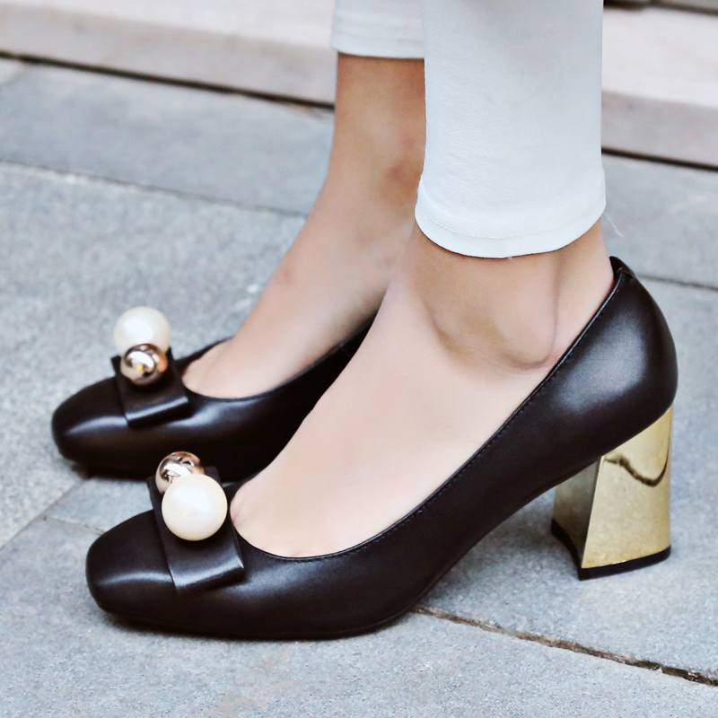 2017 New Fashion Spring Brand Shoes Big Size Pearl Bowtie Wedding High Heel Women Pumps Party Shallow Causal Office Lady Shoe 10 2017 new fashion brand spring shoes large size crystal pointed toe kid suede thick heel women pumps party sweet office lady shoe