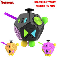 Tumama Fidget Cube 2017 New 12 Sides Antistress Spinner Anxiety Reliever Stress Relief Finger Busy Toy
