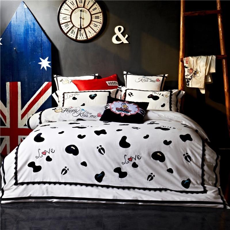 Luxury Long Staple Cotton Cartoon Cow Spots Embroidery Bedding Set Duvet Cover Bed Linen Bedsheet Pillowcase King Queen 4/6/7pcs