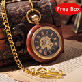 Gold Wooden Necklace Suits Pocket Watch With Chain Mechanical Hand Win Roman Numbers Luxury Gift Box Vintage Antique Watch PW262