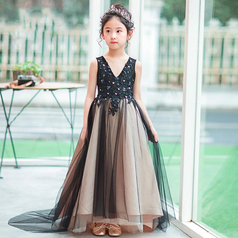Children's dress girls black tail dress 2018 new summer sleeveless pettiskirt party host catwalk costume dress все цены
