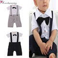 Kids Baby Boys Formal Tuxedo SHORT Sleeve One-Piece Romper Suit Newborn Gentleman Solid Bowknot Cotton Clothes 0-24M 2 colors