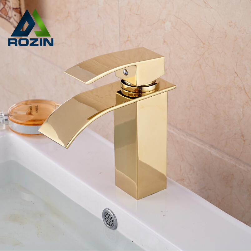 Golden Brass Square Waterfall Bathroom Sink Faucet Deck Mount Single Handle Mixer Taps with Hot and Cold Water bathroom golden dual handle taps washbasin sink faucets hot and cold water mixer faucet