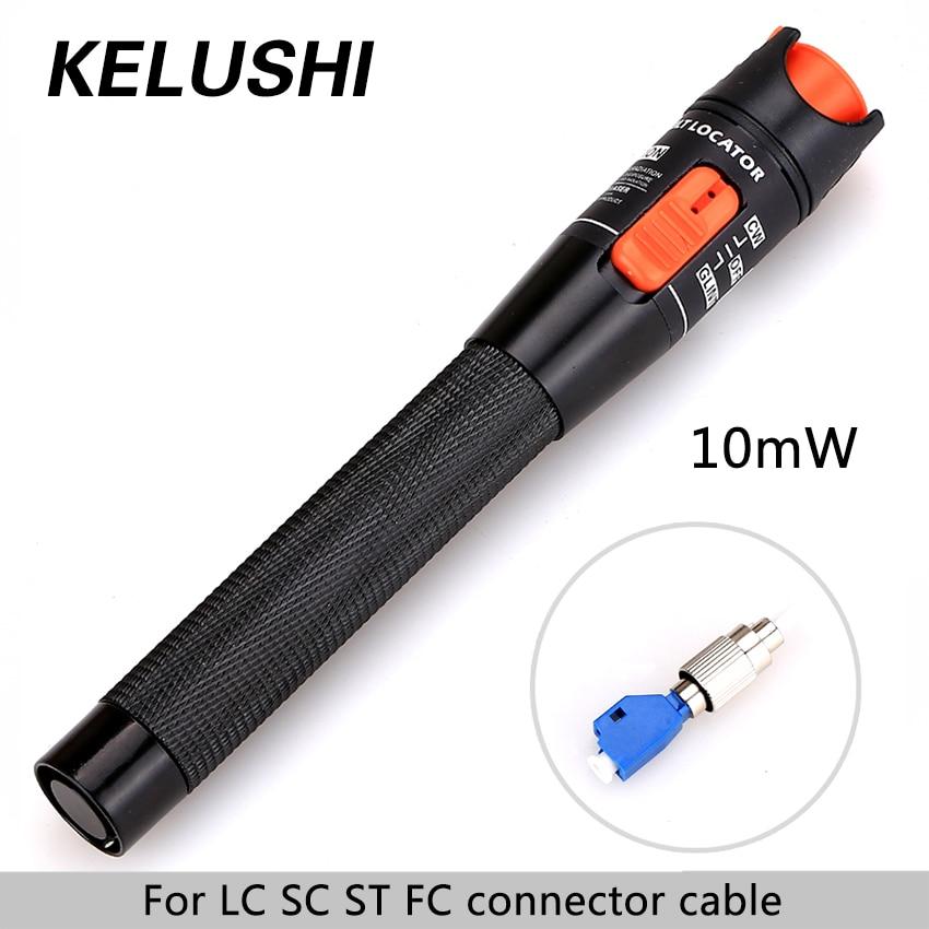 KELUSHI CATV 10 mw Aluminium Lwl Visual Fault Locator Rot Laser Kabel Tester Testing Tool mit 2,5mm LC /SC/ST/FC Adapter