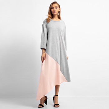 2019 new Women's long dress O-neck solid color stitching loose large size Islamic Muslim Middle Eastern long dress 4.12