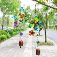 H&D 2 Colors Butterfly Wind Chime Outdoor Ornament 16.9 Inch Beautiful Music WindChimes with Bell for Garden,Patio,Balcony Decor