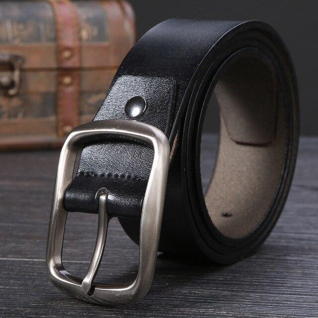 2016 moda hombre de cuero de vaca genuino correa masculina cinturones de lujo para los hombres negro marrón cintos masculinos placa hebilla del envío libre