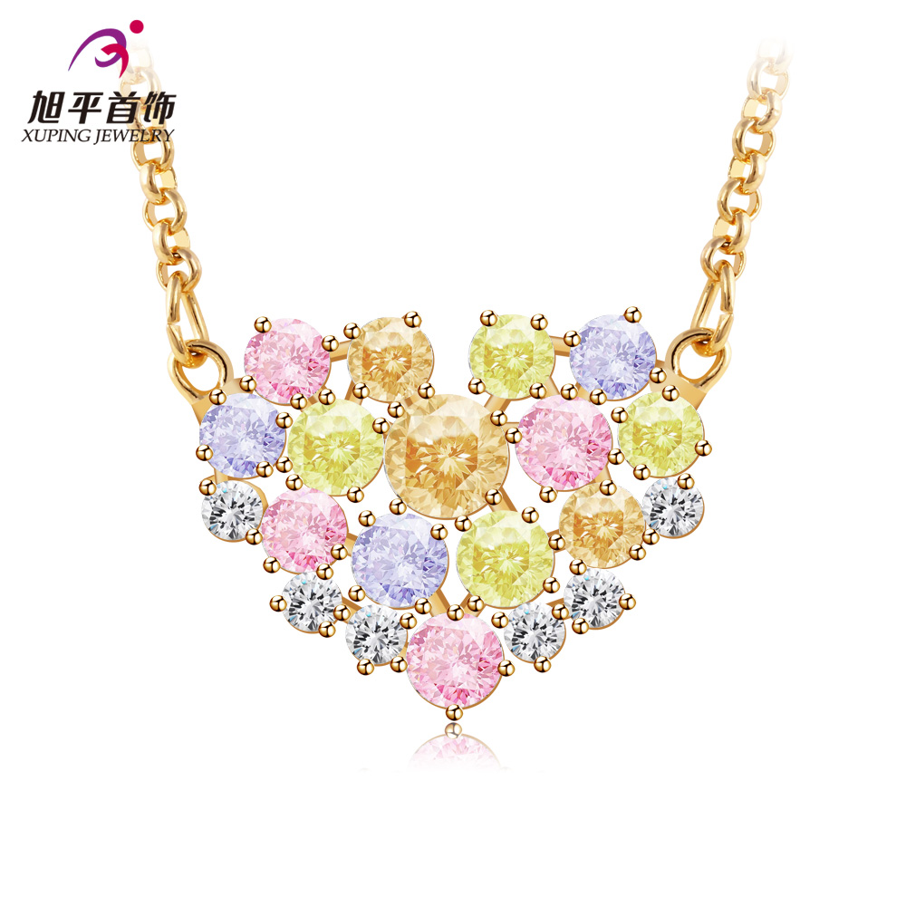 famous brand Austrian natural colorful crystal Gold-plated clavicle necklace female love Fashion heart girlfriend birthday gift