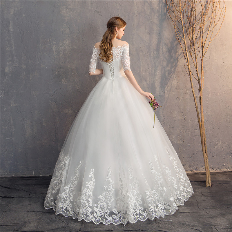 Image 5 - Do Dower Half Sleeve Vintage Wedding Dresses 2019 Off Should Embroidery Vestidos De Noivas Plus Size Bridal Ball Gowns-in Wedding Dresses from Weddings & Events