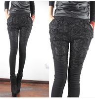 Free Shipping 2014 Spring Openwork Lace Patchwork Skinny Pants Harem Pants Casual Pencil Pants A307