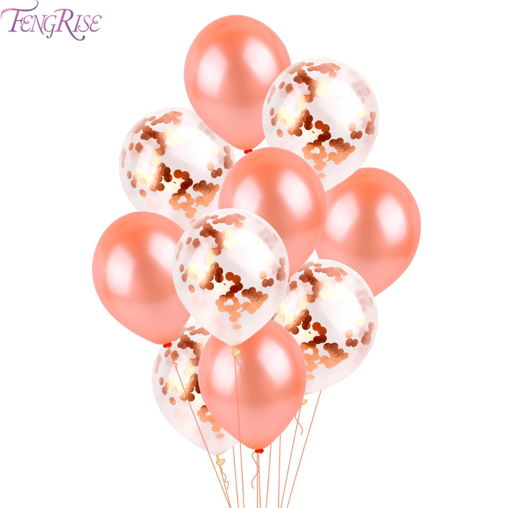FENGRISE 10PCS Rose Gold Balloon Mixed Champagne Gold Wedding Balloons Wedding Party Decoration Birthday Ballon Party Decor