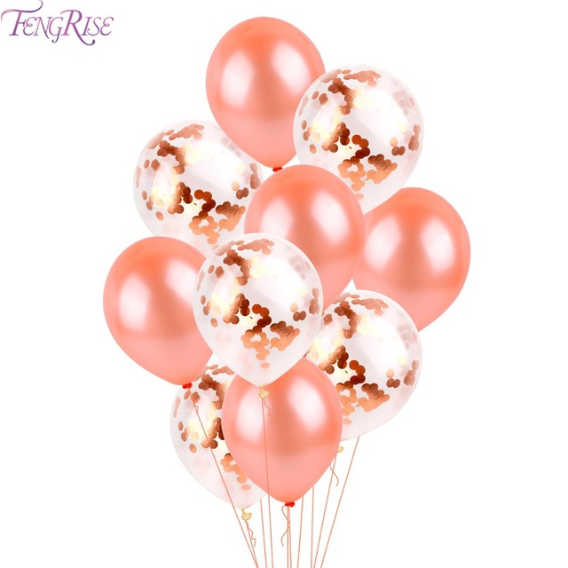 FENGRISE 10PCS Rose Gold Balloon Mixed Champagne Gold Wedding Balloons Wedding Party Decoration Birthday Ballon Party Decor