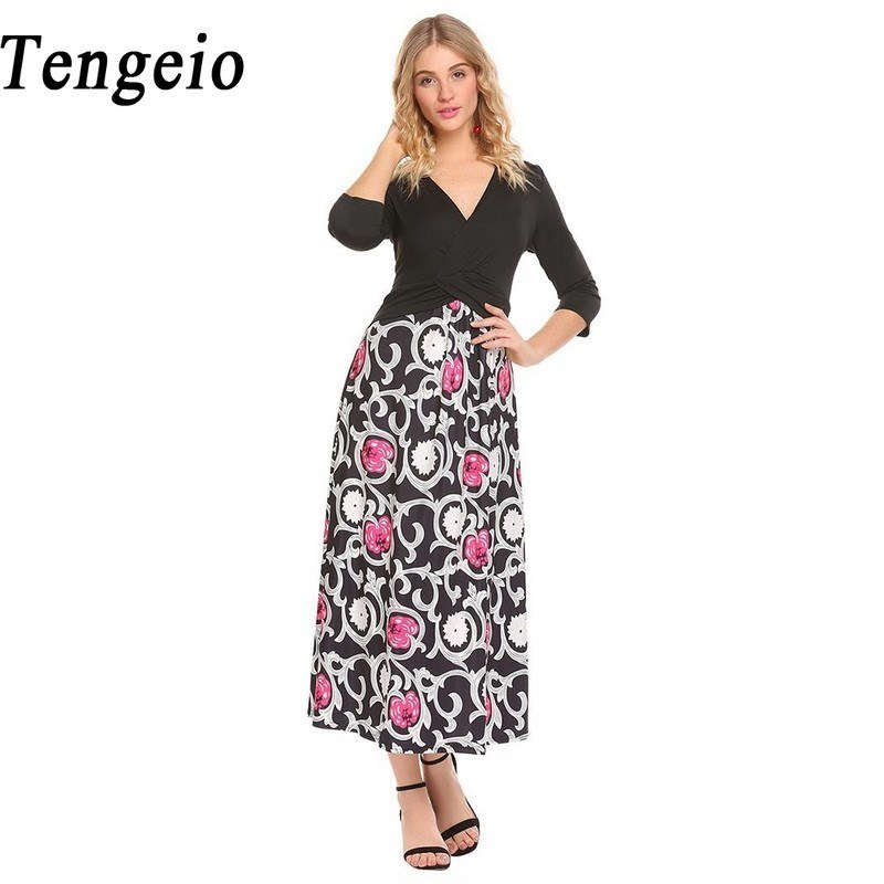 89fbbc48311 Tengeio Vestido Floral Print Patchwork Long Dress Women Vintage 3 4 Sleeve  V Neck Waist Band Evening Party Casual Dress ZL30-in Dresses from Women s  ...
