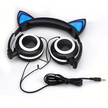 Cadeaux de noël Pliable Clignotant Rougeoyant cat oreille casque Gaming Headset Écouteurs avec led Pour PC Ordinateur Portable Mobile Téléphones