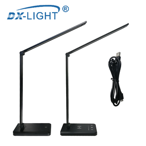 Image 2 - 3 Level Brightness Adjustable USB LED Desk Lamp Multifunction Qi LED Table Lamp 5W Touch Switch USB/Wireless Charger Table Lamp