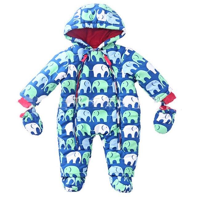 Мальчиков Snowsuit Комбинезон девушки Зимняя одежда Толстые Хлопка детей куртка Теплая Одежда детские Комбинезон Дети Верхняя Одежда
