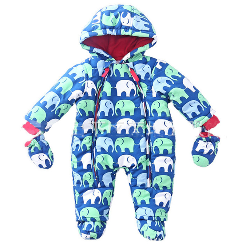 ФОТО Baby boys Snowsuit Rompers girls Winter clothes Thick Cotton kids jacket Warm Clothes baby Jumpsuit Children Outerwear