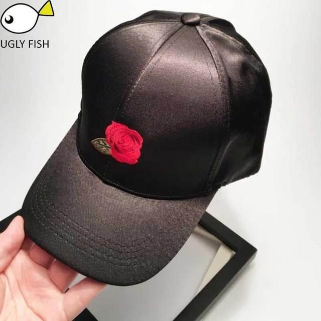 baseball cap women black cap  baseball cap rose embroidery  flowers Satin cap