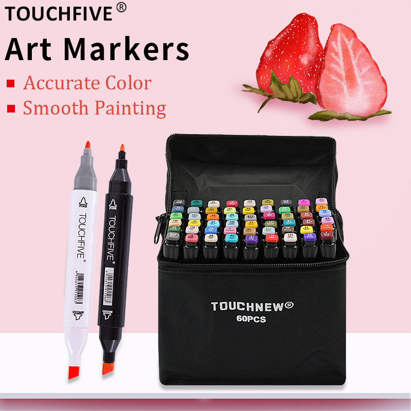 TOUCHFIVE marker 30/40/60/80 Colors Art Marker Alcohol Based Sketch Markers Pen For Drawing Manga Art SuppliesTOUCHFIVE marker 30/40/60/80 Colors Art Marker Alcohol Based Sketch Markers Pen For Drawing Manga Art Supplies
