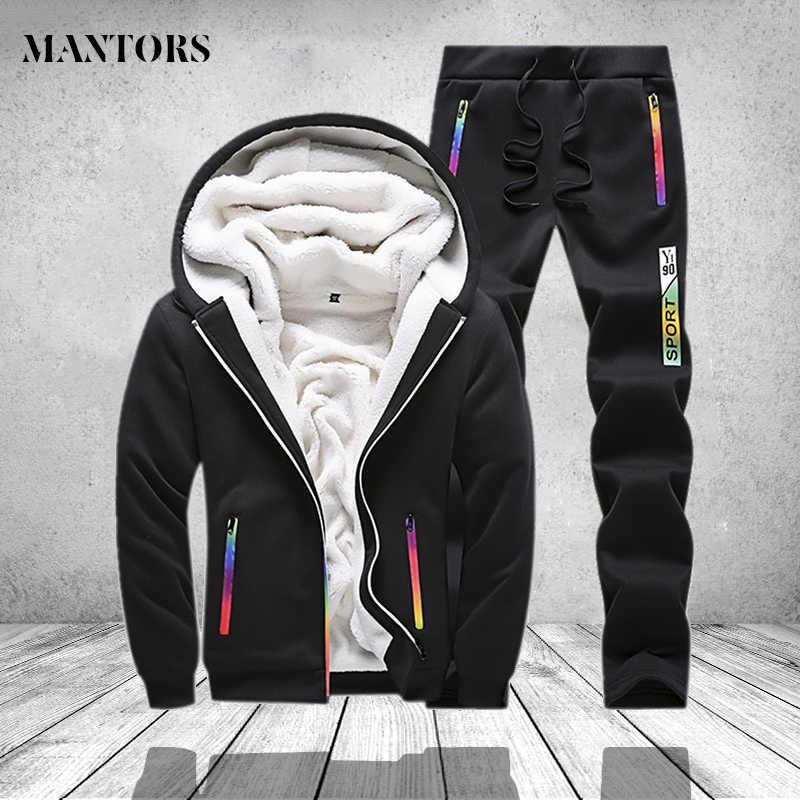冬のトラックスーツ男性セットスポーツ二枚運動着メンズ服プリント厚いフード付きパーカージャケット + パンツトラックスーツ男性