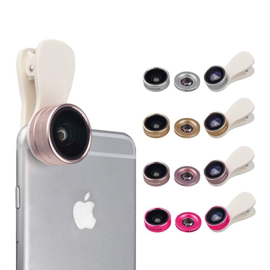 3in1 Clip-on HD Lens Kit Fisheye 0.36X Wide Angle 15X Macro Fish Eye Phone Camera Lenses For Samsung Galaxy J3 A7 A8 grand prime