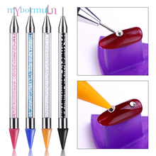 Купить с кэшбэком MYBORMULA 1 pc Dual-ended Nail Dotting Pen Crystal Handle Wax Pencil Jewel Picker Pen Nails Decoration Pick Up Pens Dotting Tool