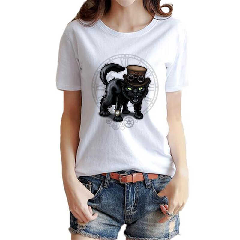 2018 New Arrivals Time machinery Cat Women T Shirt Cute Cat Printed t-shirt Short Sleeve Casual Basic Tops Cool Tee Shirts
