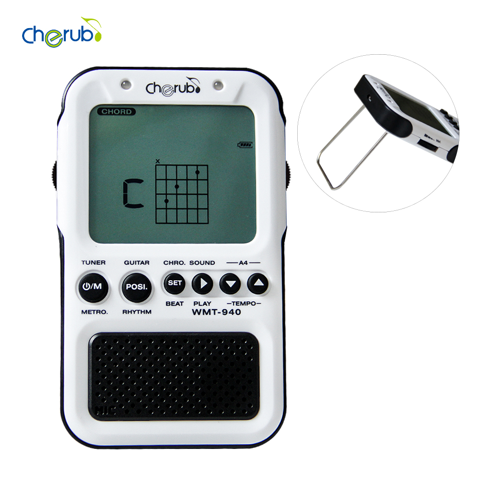 Cherub WMT-940 Metronome Tuner for Chromatic/Guitar/Bass/Violin/Ukulele with Auto Tuning Method & Electronic Metronome Sound zebra 2 in 1 clip tuner metronome 360 degree rotatable clip guitar tuners machines for guitar beat tempo bass violin ukulele