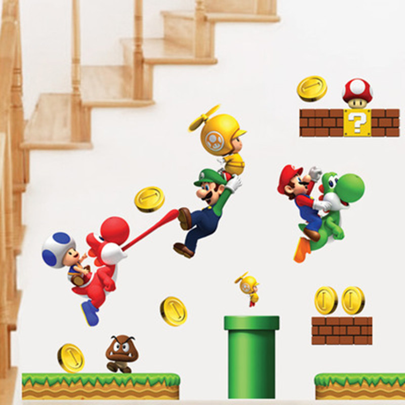 Eva2king 3D Effect Cool Super Mario Stickers Removable Cute Cartoon PVC Sticker Kids For Wall Bedroom Sofa DecalsEva2king 3D Effect Cool Super Mario Stickers Removable Cute Cartoon PVC Sticker Kids For Wall Bedroom Sofa Decals