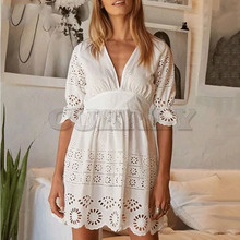 Cuerly 2019 summer lace dress women white cotton embroidery hollow out mini dress short sleeve V-neck sexy party dresses цена и фото
