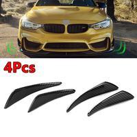 4 Pcs Canards Real Carbon Fiber Side Shark Fins Canards For Mercedes Benz For BMW For Audi Front Bumper Lip Diffuser Splitter