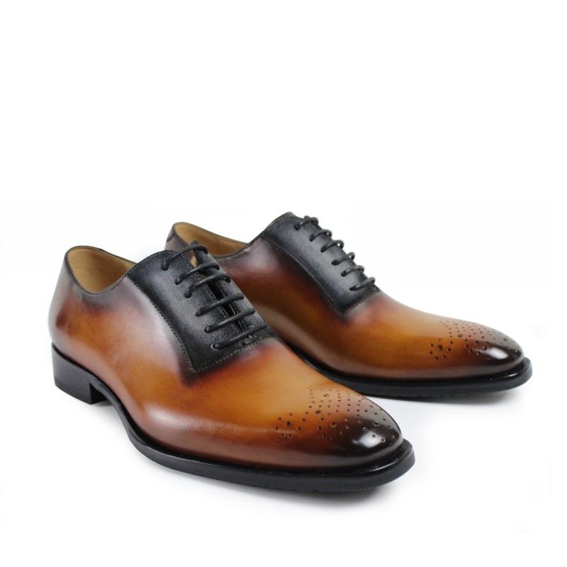 2017 Men Vintage Retro Custom Mens Oxford Shoes Gentleman Dress Wedding Party Royal Blue Genuine Leather original design