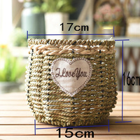 17cm Rattan Vase Retro Flower Basket Pot Hanger Props Wall Basket Decor Indoor Outdoor Pastoral Baskets garden tabletop vase