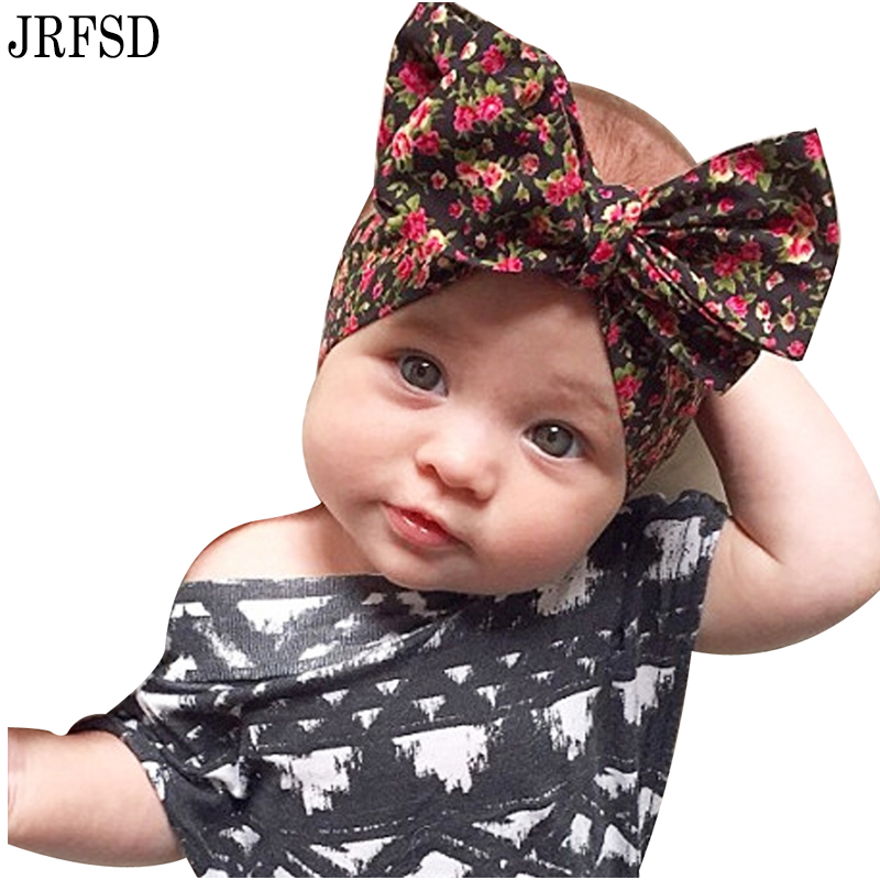JRFSD 1PC Cute New Printing Flower Headband Bow Headband 100%Cotton Hair Band Elastic HairBands Kids Hair Accessories For girls bebe girls flower headband four felt rose flowers head band elastic hairbands rainbow headwear hair accessories