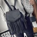 2015 Mulheres Bolsa de Couro PU Famosa Marca mulheres mochilas borla senhoras bolsa Escola mochila feminina carteira feminina bolsos quentes