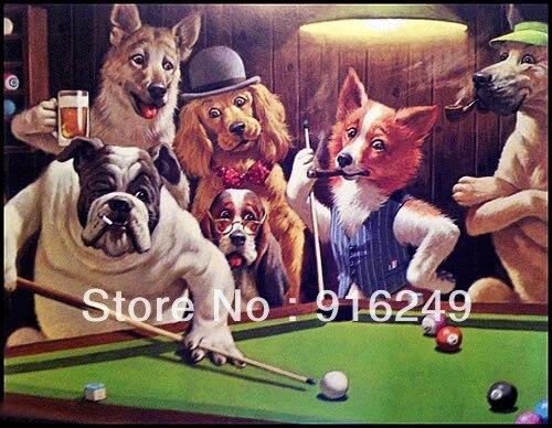 100 Artesanales Pintura Al Oleo Home Deco Perros Jugando Billar By