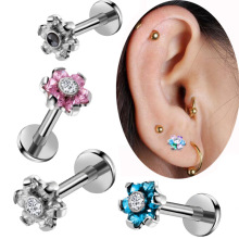 1PC 16G Steel Internal Thread Flower Top Labret Lip Stud Rings Crystal Lip Piercing Tragus Earring Piercings Sexy Body Jewelry