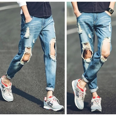 Aliexpress.com : Buy summer style jeans men an women ripped Ankle ...