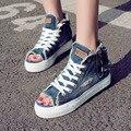 Para mujer Gruesa Suela Cremallera Agujeros Peep Toe de Mezclilla Zapatos Casuales 2016 de Verano Transpirable de Alta superior Zapatos de Lona de Las Mujeres Entrenadores