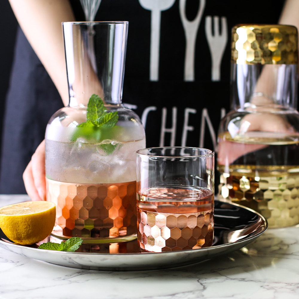 KINGLANG verre Rose doré couleur Super haute qualité Style nordique verre bouteille d'eau vaisselle