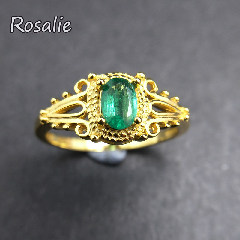 Rosalie,Natural zambia Green Emerald oval 4*6mm 0.5ct gemstone elegant Ring 925 sterling silver fine jewelry for lady gift party