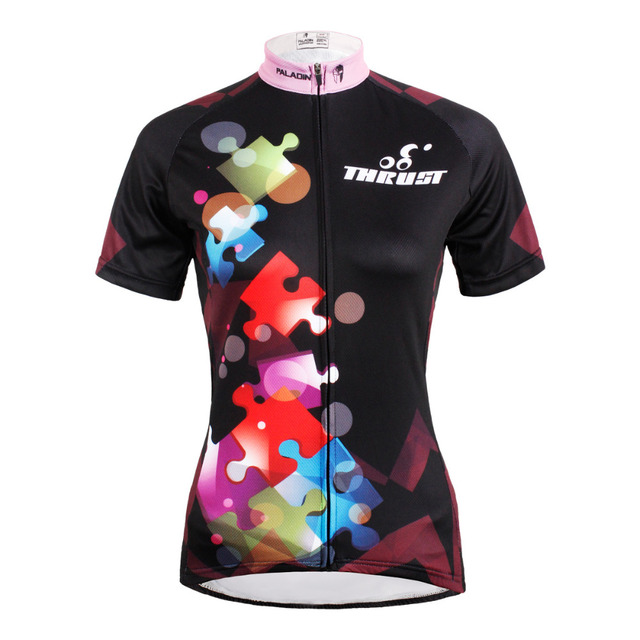 72879b998 Free shipping Women Puzzle Short Sleeve Cycling Jerseys Black Bicycle  Jersey Polyester Breathable Cycling Clothes Size XS-6XL